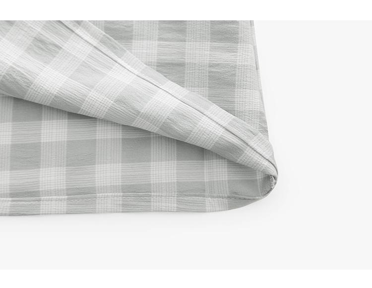 韓国 ファッション ワンピース 夏 春 カジュアル PTXI391  くすみカラー チェック パフスリーブ ゆったり オルチャン シンプル 定番 セレカジの写真19枚目
