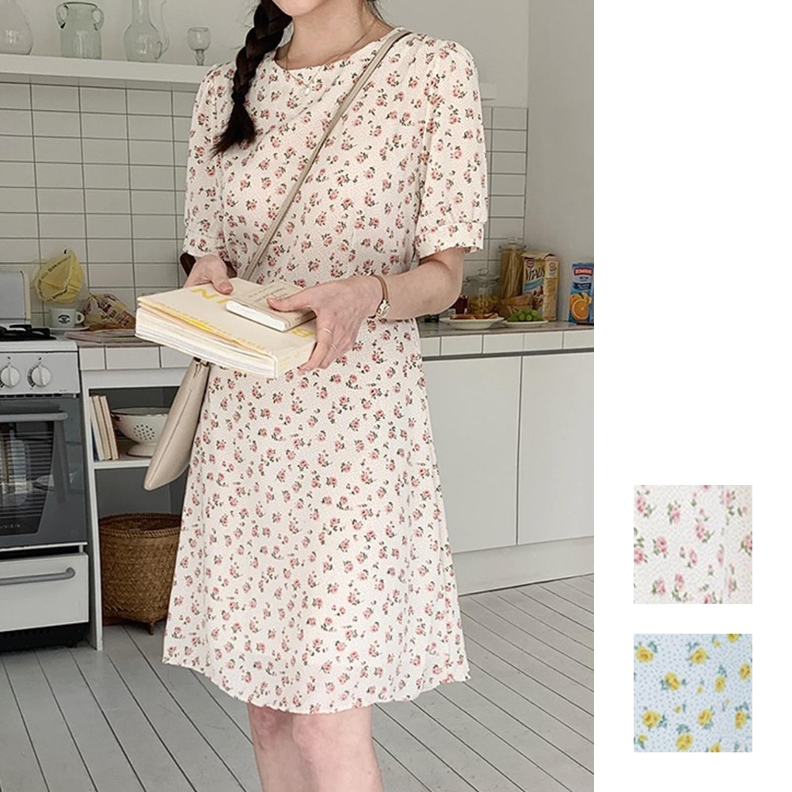 韓国 ファッション ワンピース 春 夏 カジュアル PTXI413  パフスリーブ ノーカラー フレア キュート オルチャン シンプル 定番 セレカジの写真1枚目