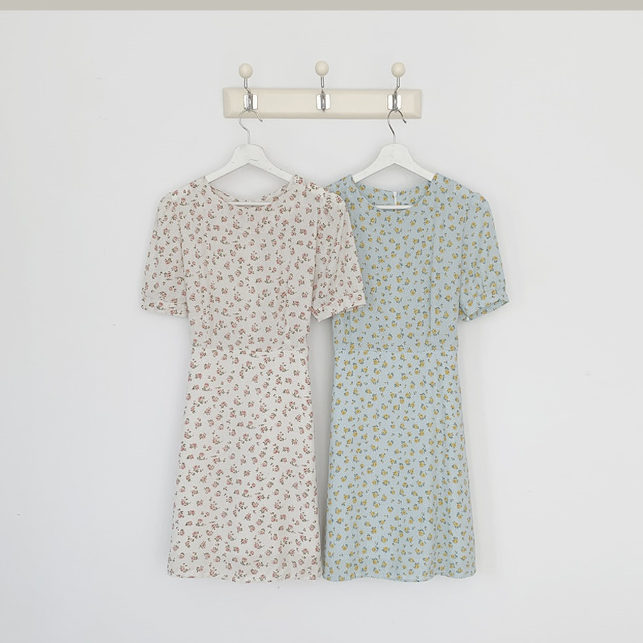 韓国 ファッション ワンピース 春 夏 カジュアル PTXI413  パフスリーブ ノーカラー フレア キュート オルチャン シンプル 定番 セレカジの写真3枚目