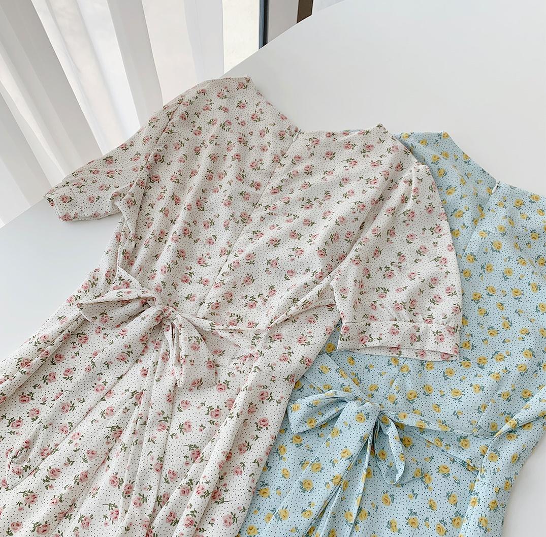 韓国 ファッション ワンピース 春 夏 カジュアル PTXI413  パフスリーブ ノーカラー フレア キュート オルチャン シンプル 定番 セレカジの写真4枚目