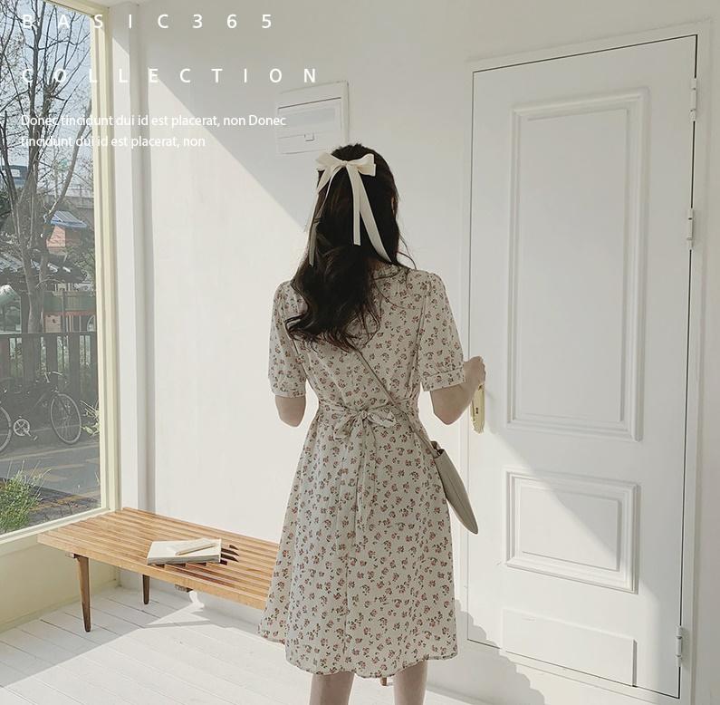 韓国 ファッション ワンピース 春 夏 カジュアル PTXI413  パフスリーブ ノーカラー フレア キュート オルチャン シンプル 定番 セレカジの写真15枚目