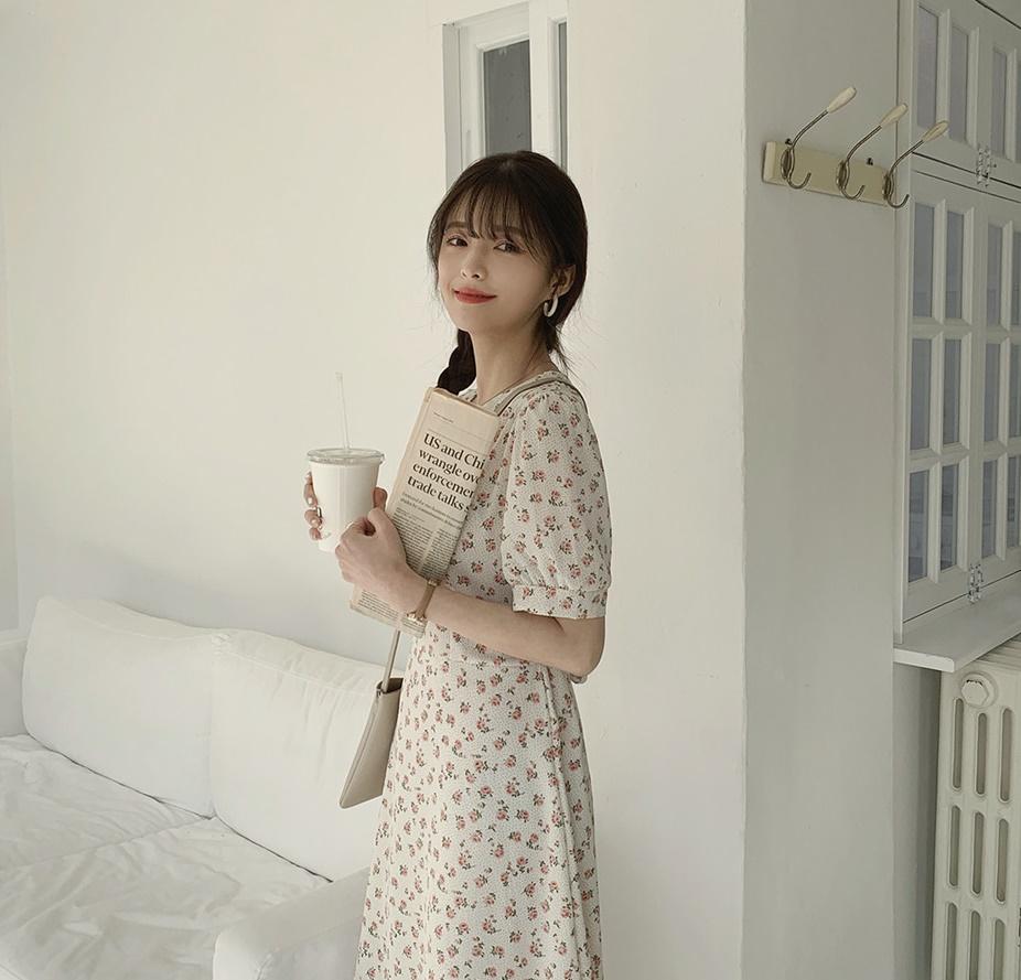 韓国 ファッション ワンピース 春 夏 カジュアル PTXI413  パフスリーブ ノーカラー フレア キュート オルチャン シンプル 定番 セレカジの写真16枚目