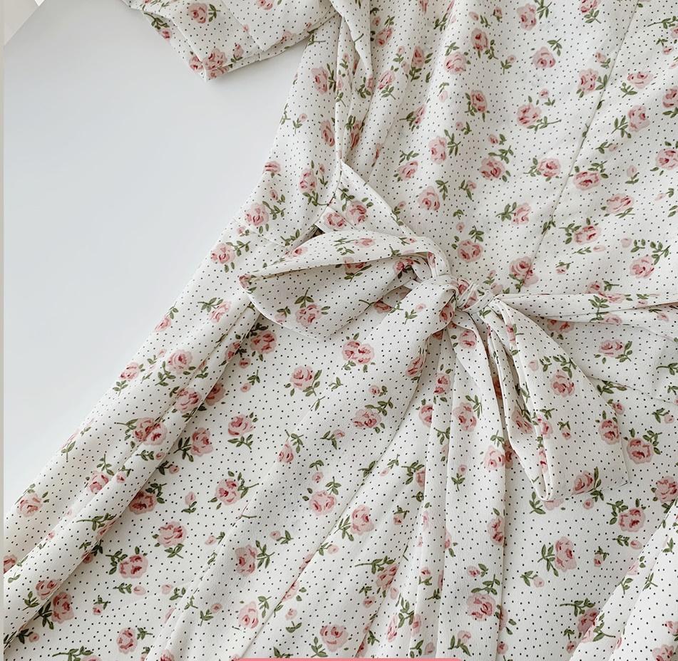 韓国 ファッション ワンピース 春 夏 カジュアル PTXI413  パフスリーブ ノーカラー フレア キュート オルチャン シンプル 定番 セレカジの写真19枚目