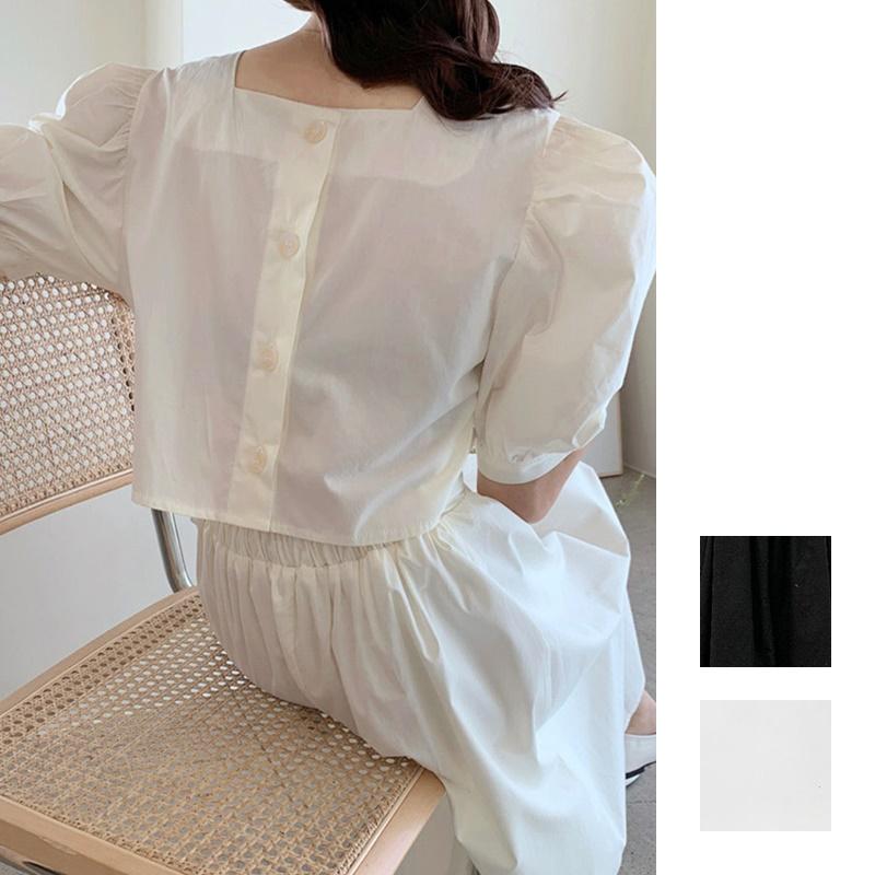 韓国 ファッション ワンピース 春 夏 カジュアル PTXI432  バックコンシャス パフスリーブ フェミニン オルチャン シンプル 定番 セレカジの写真1枚目