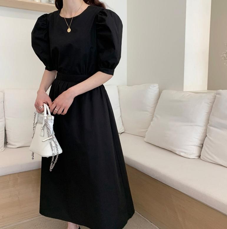 韓国 ファッション ワンピース 春 夏 カジュアル PTXI432  バックコンシャス パフスリーブ フェミニン オルチャン シンプル 定番 セレカジの写真5枚目
