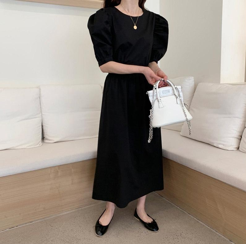 韓国 ファッション ワンピース 春 夏 カジュアル PTXI432  バックコンシャス パフスリーブ フェミニン オルチャン シンプル 定番 セレカジの写真6枚目