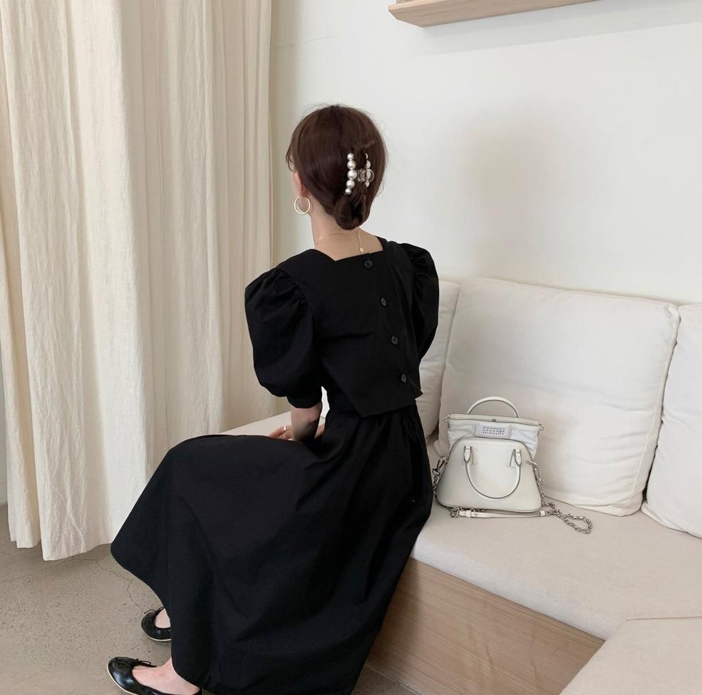 韓国 ファッション ワンピース 春 夏 カジュアル PTXI432  バックコンシャス パフスリーブ フェミニン オルチャン シンプル 定番 セレカジの写真7枚目