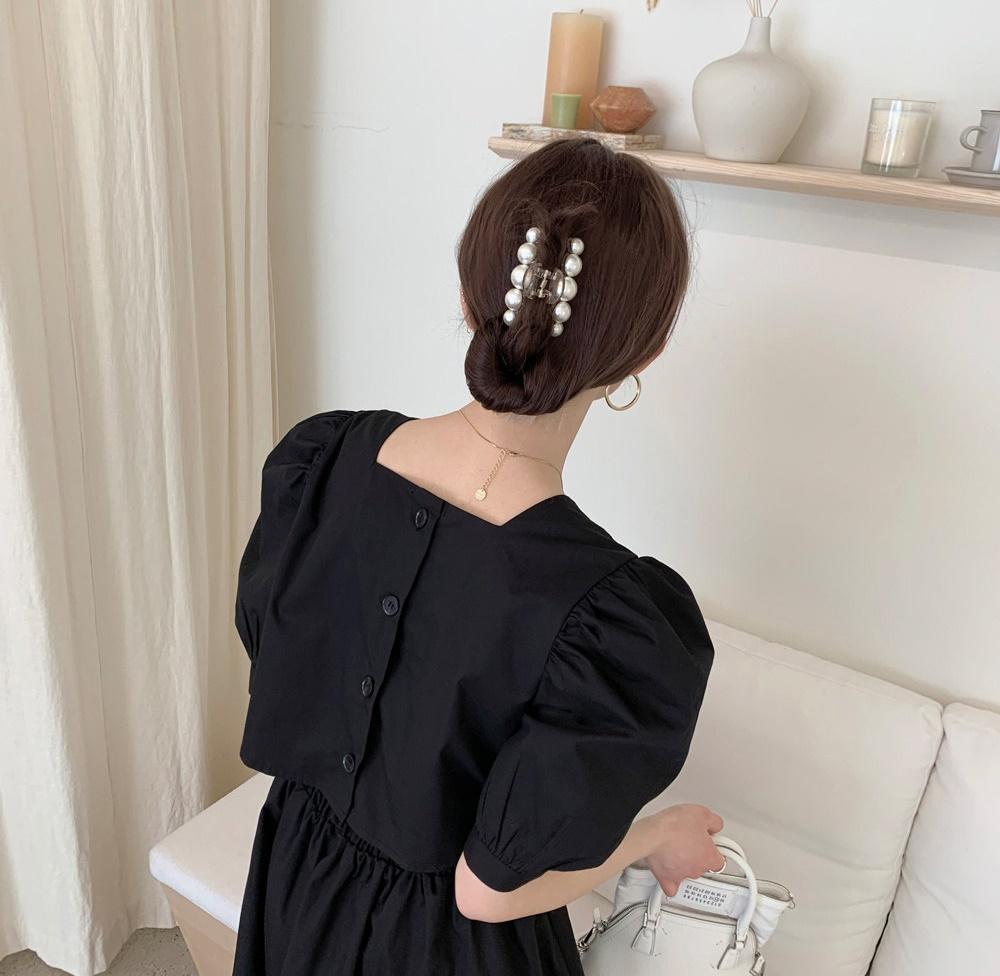 韓国 ファッション ワンピース 春 夏 カジュアル PTXI432  バックコンシャス パフスリーブ フェミニン オルチャン シンプル 定番 セレカジの写真8枚目