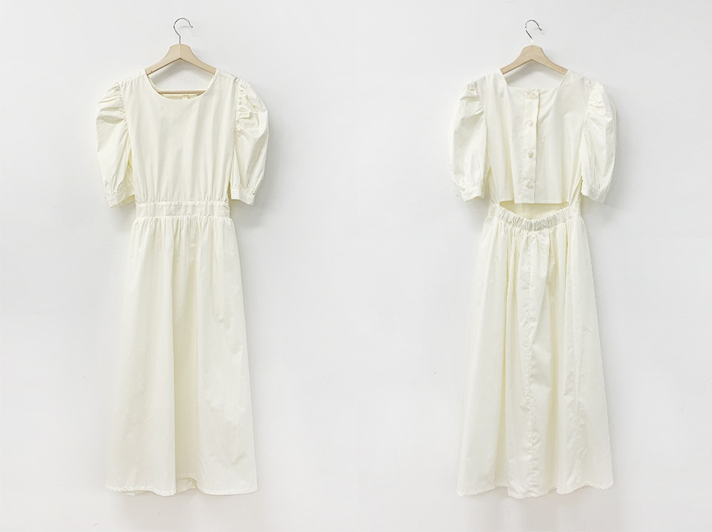 韓国 ファッション ワンピース 春 夏 カジュアル PTXI432  バックコンシャス パフスリーブ フェミニン オルチャン シンプル 定番 セレカジの写真12枚目