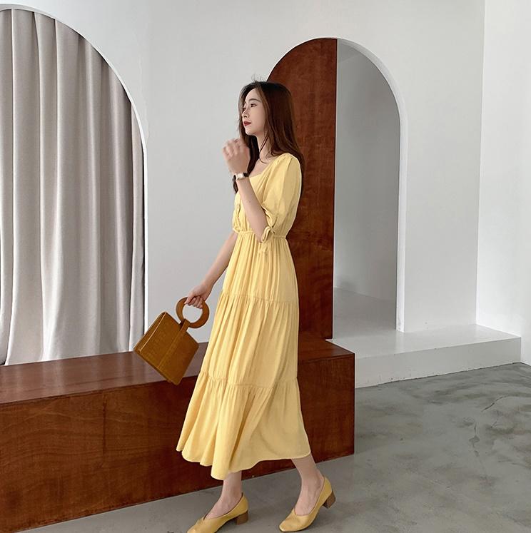 韓国 ファッション ワンピース 夏 春 秋 カジュアル PTXI439  ティアード マキシ ハイウエスト Aライン オルチャン シンプル 定番 セレカジの写真8枚目