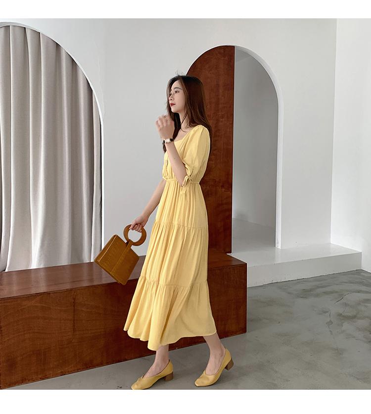 韓国 ファッション ワンピース 夏 春 秋 カジュアル PTXI439  ティアード マキシ ハイウエスト Aライン オルチャン シンプル 定番 セレカジの写真9枚目