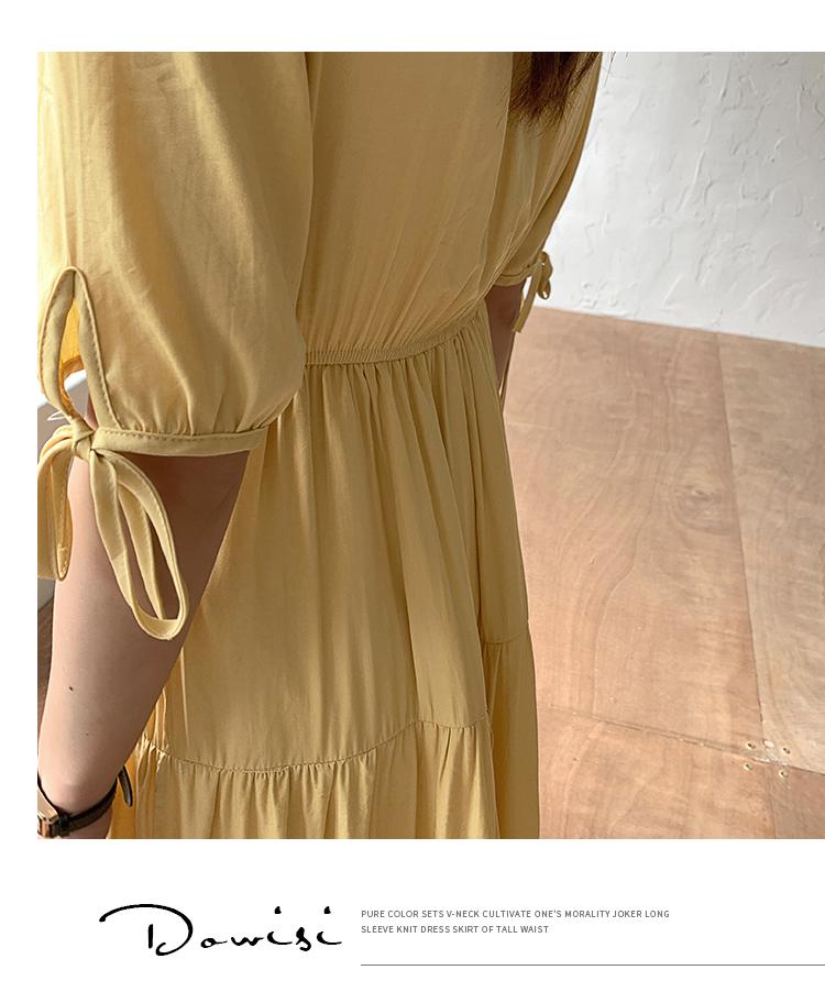 韓国 ファッション ワンピース 夏 春 秋 カジュアル PTXI439  ティアード マキシ ハイウエスト Aライン オルチャン シンプル 定番 セレカジの写真14枚目
