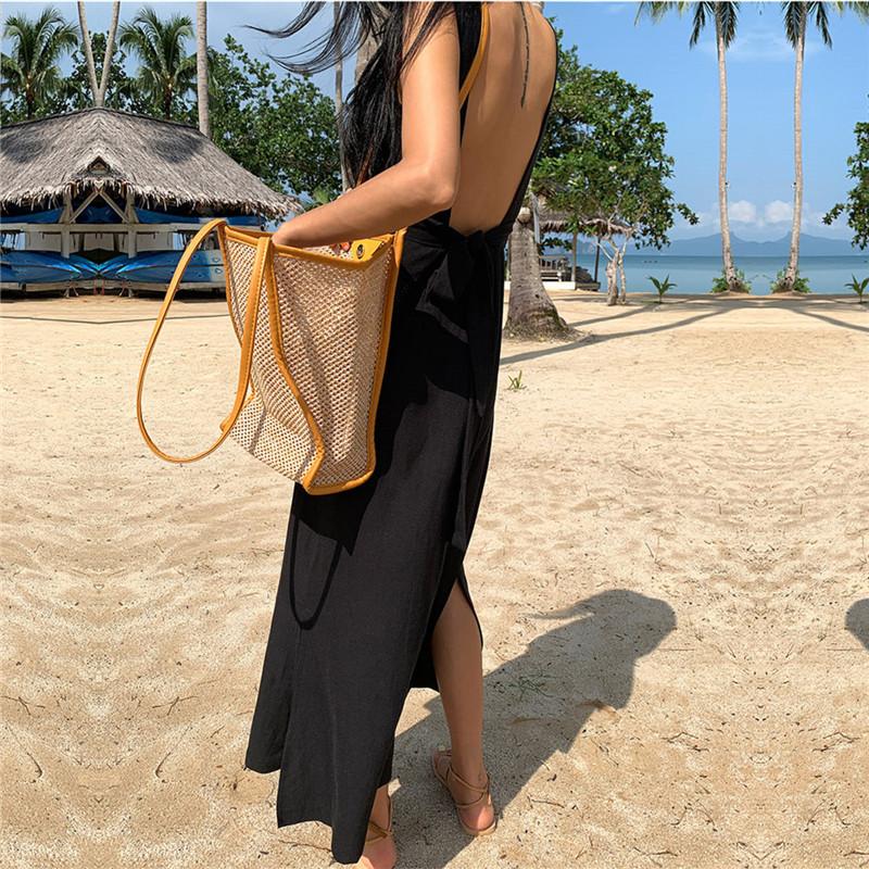 リゾートワンピース ロング マキシ ハワイ お出かけワンピ 夏 春 リゾート パーティー PTXI442  シアー リネン風 バックコンシャス マキシ セレブ セクシーの写真20枚目