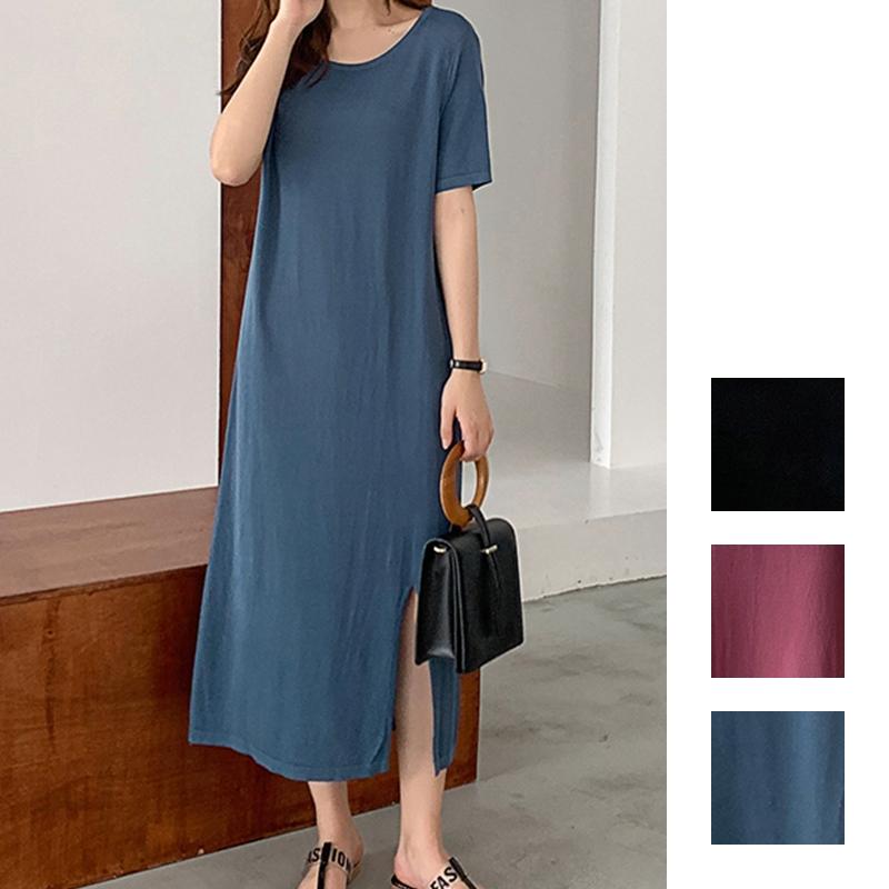 韓国 ファッション ワンピース 夏 春 カジュアル PTXI455  ゆったり リラクシー プレーン ニットワンピ オルチャン シンプル 定番 セレカジの写真1枚目
