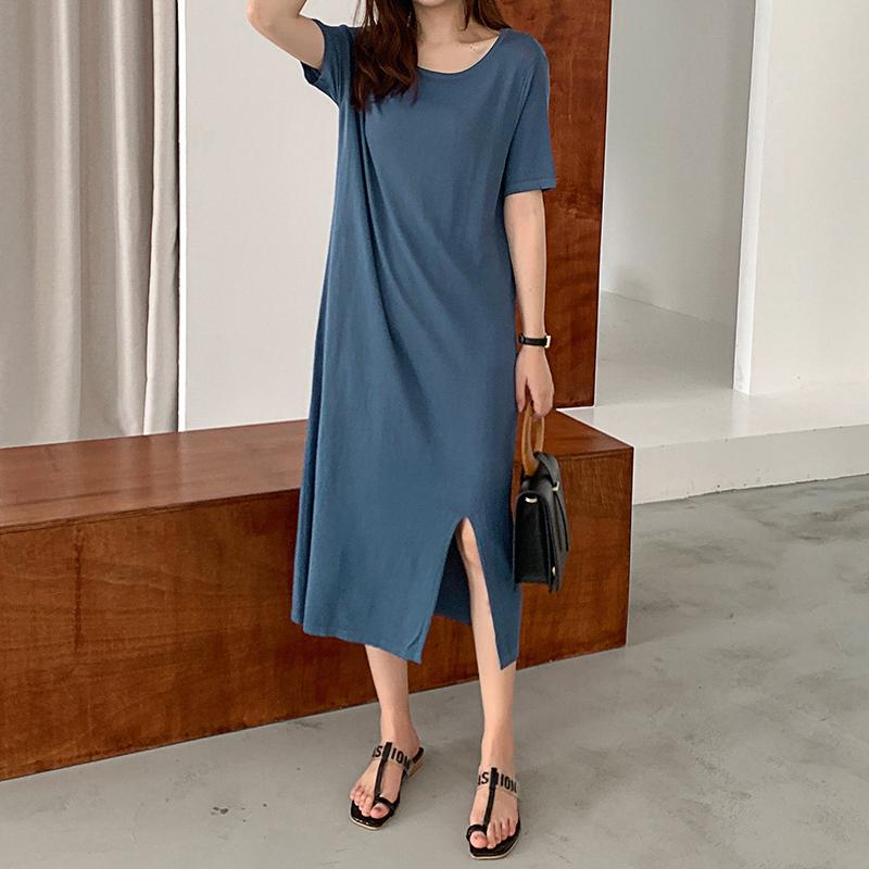 韓国 ファッション ワンピース 夏 春 カジュアル PTXI455  ゆったり リラクシー プレーン ニットワンピ オルチャン シンプル 定番 セレカジの写真3枚目