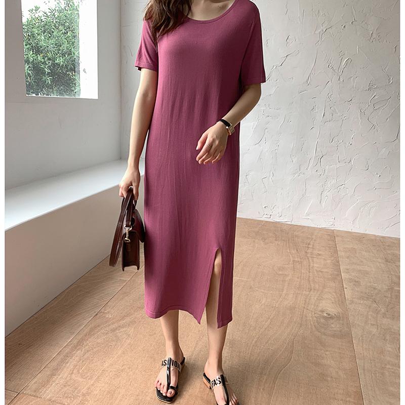 韓国 ファッション ワンピース 夏 春 カジュアル PTXI455  ゆったり リラクシー プレーン ニットワンピ オルチャン シンプル 定番 セレカジの写真4枚目