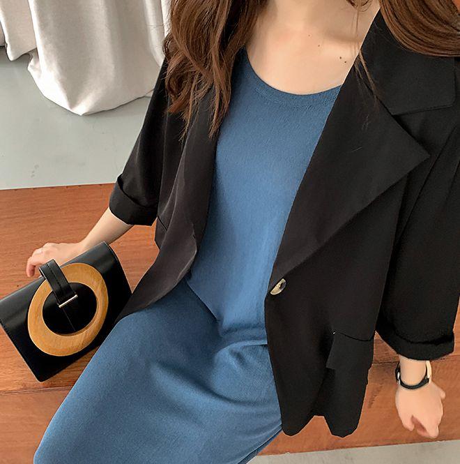 韓国 ファッション ワンピース 夏 春 カジュアル PTXI455  ゆったり リラクシー プレーン ニットワンピ オルチャン シンプル 定番 セレカジの写真6枚目