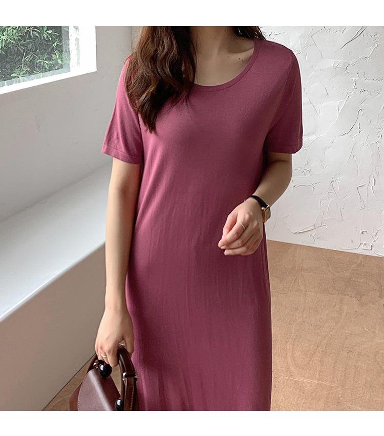 韓国 ファッション ワンピース 夏 春 カジュアル PTXI455  ゆったり リラクシー プレーン ニットワンピ オルチャン シンプル 定番 セレカジの写真9枚目
