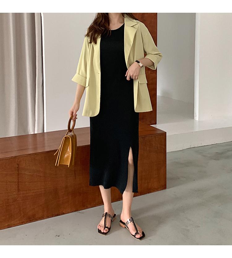 韓国 ファッション ワンピース 夏 春 カジュアル PTXI455  ゆったり リラクシー プレーン ニットワンピ オルチャン シンプル 定番 セレカジの写真10枚目