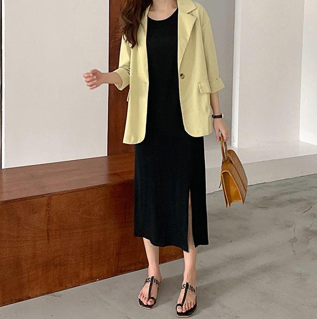 韓国 ファッション ワンピース 夏 春 カジュアル PTXI455  ゆったり リラクシー プレーン ニットワンピ オルチャン シンプル 定番 セレカジの写真11枚目