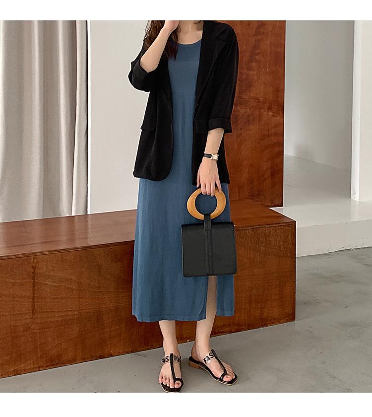 韓国 ファッション ワンピース 夏 春 カジュアル PTXI455  ゆったり リラクシー プレーン ニットワンピ オルチャン シンプル 定番 セレカジの写真12枚目