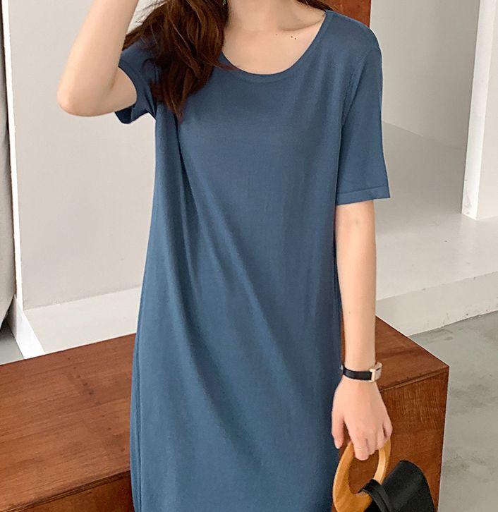韓国 ファッション ワンピース 夏 春 カジュアル PTXI455  ゆったり リラクシー プレーン ニットワンピ オルチャン シンプル 定番 セレカジの写真13枚目