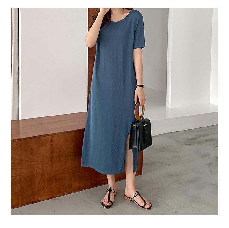 韓国 ファッション ワンピース 夏 春 カジュアル PTXI455  ゆったり リラクシー プレーン ニットワンピ オルチャン シンプル 定番 セレカジの写真14枚目