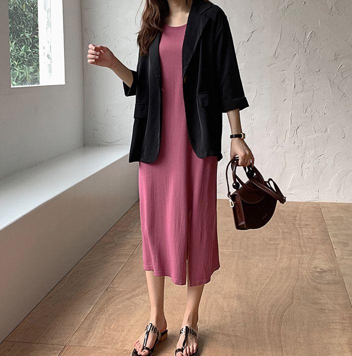 韓国 ファッション ワンピース 夏 春 カジュアル PTXI455  ゆったり リラクシー プレーン ニットワンピ オルチャン シンプル 定番 セレカジの写真15枚目