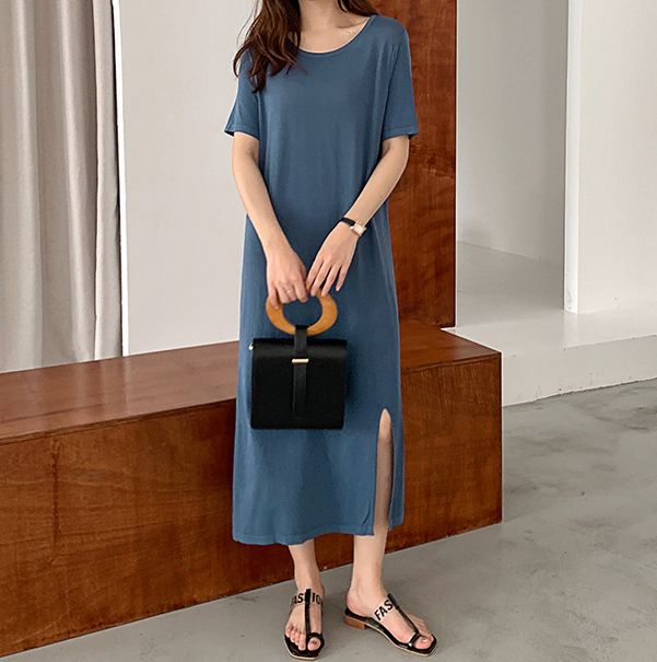 韓国 ファッション ワンピース 夏 春 カジュアル PTXI455  ゆったり リラクシー プレーン ニットワンピ オルチャン シンプル 定番 セレカジの写真18枚目