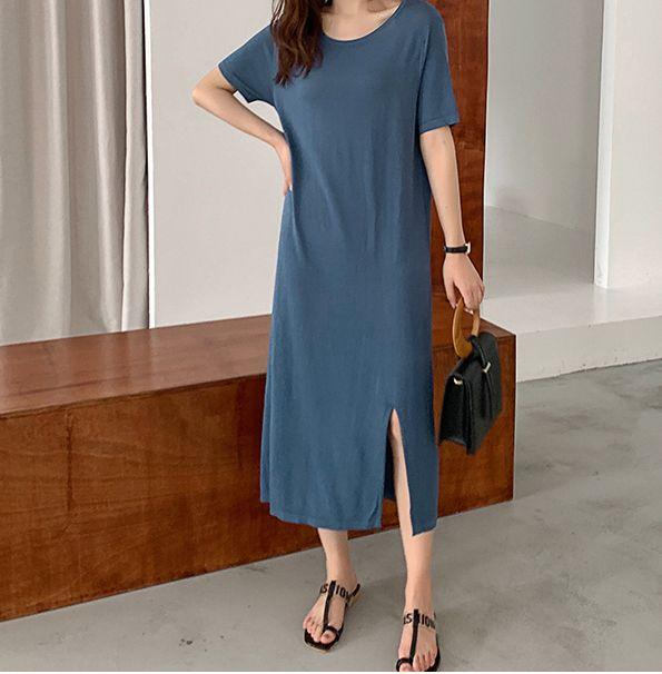 韓国 ファッション ワンピース 夏 春 カジュアル PTXI455  ゆったり リラクシー プレーン ニットワンピ オルチャン シンプル 定番 セレカジの写真19枚目