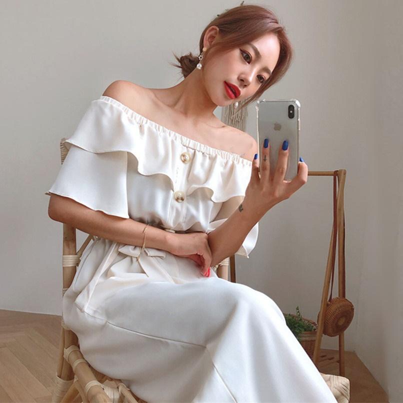 韓国 ファッション オールインワン オーバーオール 春 夏 カジュアル PTXI484  オフショルダー ハイウエスト ワイドストレート オルチャン シンプル 定番 セレカジの写真3枚目