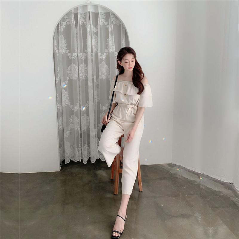 韓国 ファッション オールインワン オーバーオール 春 夏 カジュアル PTXI484  オフショルダー ハイウエスト ワイドストレート オルチャン シンプル 定番 セレカジの写真4枚目