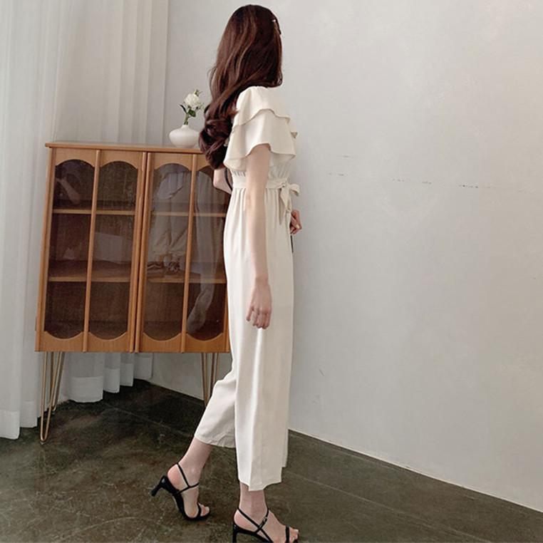 韓国 ファッション オールインワン オーバーオール 春 夏 カジュアル PTXI484  オフショルダー ハイウエスト ワイドストレート オルチャン シンプル 定番 セレカジの写真5枚目