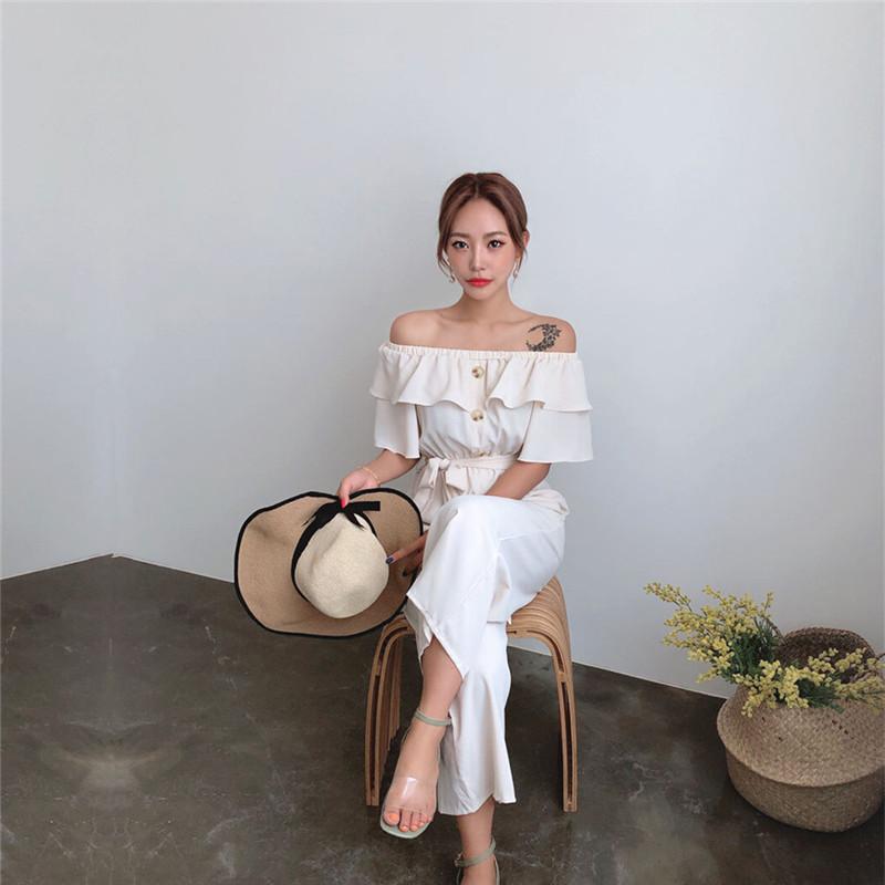 韓国 ファッション オールインワン オーバーオール 春 夏 カジュアル PTXI484  オフショルダー ハイウエスト ワイドストレート オルチャン シンプル 定番 セレカジの写真12枚目