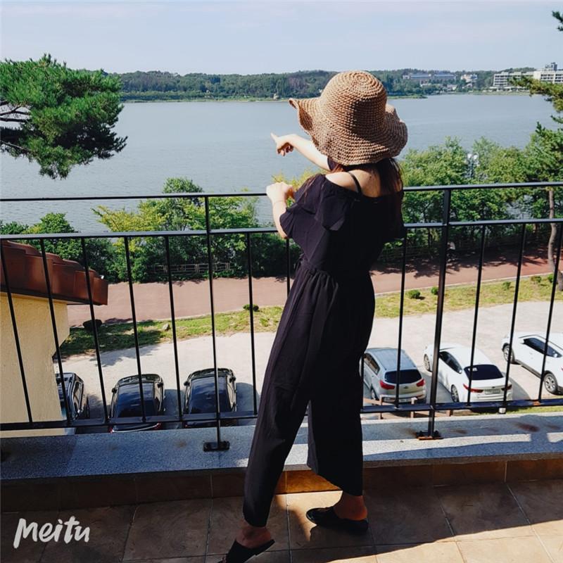 韓国 ファッション オールインワン オーバーオール 春 夏 カジュアル PTXI484  オフショルダー ハイウエスト ワイドストレート オルチャン シンプル 定番 セレカジの写真14枚目
