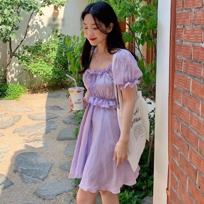韓国 ファッション ワンピース 夏 春 カジュアル PTXI493  袖コンシャス バルーンスリーブ フリル フレア オルチャン シンプル 定番 セレカジの写真7枚目