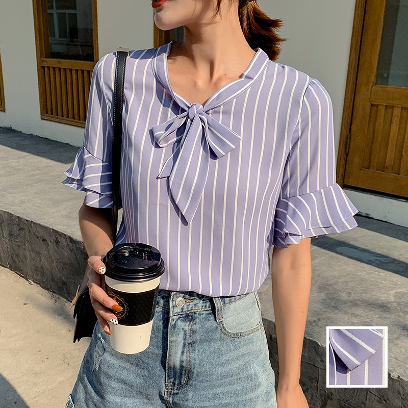韓国 ファッション トップス ブラウス シャツ 春 夏 秋 カジュアル PTXI498  バンドカラー風 ボウタイ ペールカラー オルチャン シンプル 定番 セレカジの写真1枚目