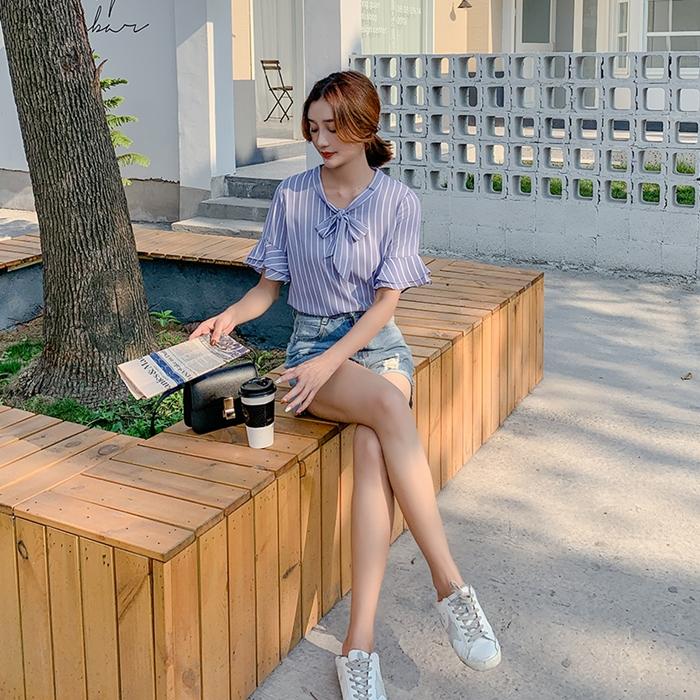 韓国 ファッション トップス ブラウス シャツ 春 夏 秋 カジュアル PTXI498  バンドカラー風 ボウタイ ペールカラー オルチャン シンプル 定番 セレカジの写真4枚目