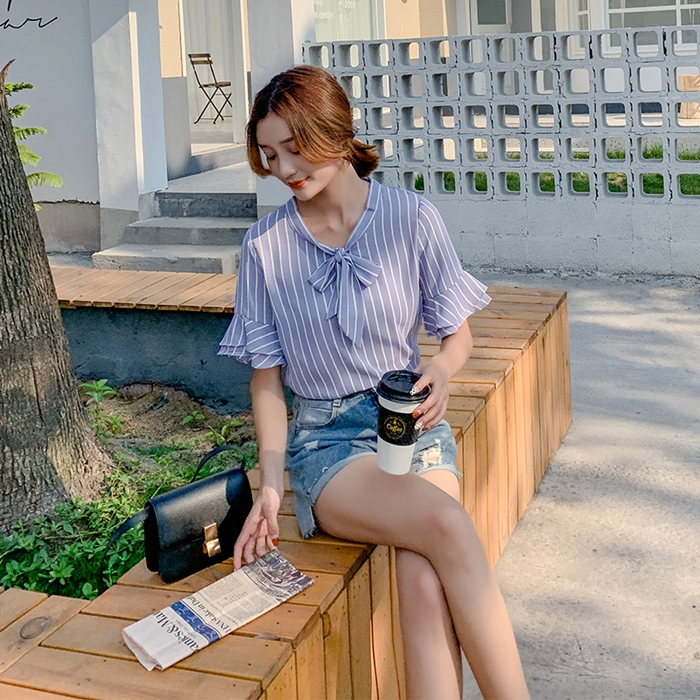 韓国 ファッション トップス ブラウス シャツ 春 夏 秋 カジュアル PTXI498  バンドカラー風 ボウタイ ペールカラー オルチャン シンプル 定番 セレカジの写真6枚目