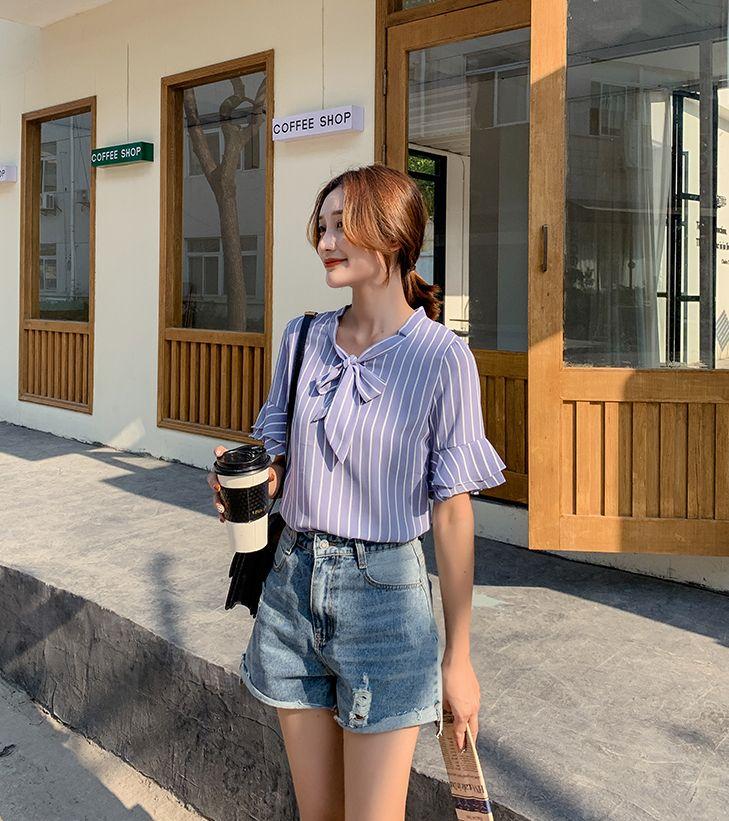 韓国 ファッション トップス ブラウス シャツ 春 夏 秋 カジュアル PTXI498  バンドカラー風 ボウタイ ペールカラー オルチャン シンプル 定番 セレカジの写真7枚目