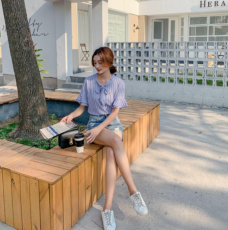 韓国 ファッション トップス ブラウス シャツ 春 夏 秋 カジュアル PTXI498  バンドカラー風 ボウタイ ペールカラー オルチャン シンプル 定番 セレカジの写真10枚目