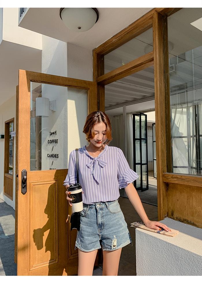 韓国 ファッション トップス ブラウス シャツ 春 夏 秋 カジュアル PTXI498  バンドカラー風 ボウタイ ペールカラー オルチャン シンプル 定番 セレカジの写真11枚目