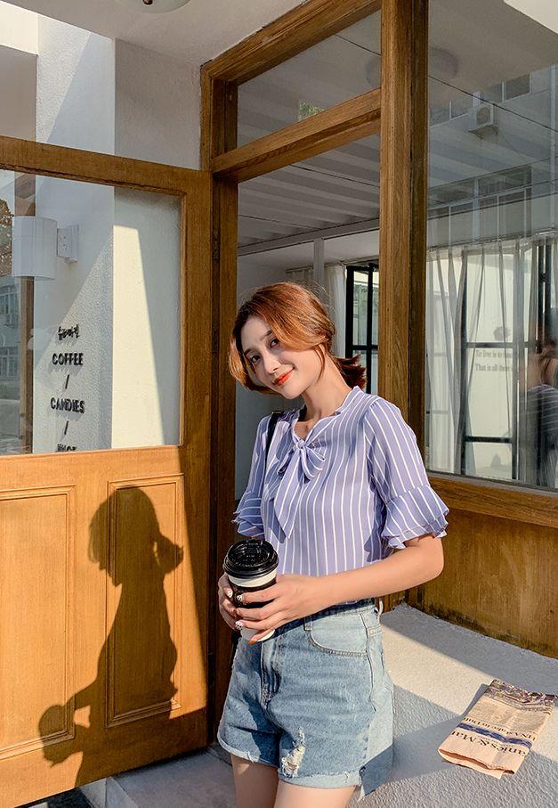 韓国 ファッション トップス ブラウス シャツ 春 夏 秋 カジュアル PTXI498  バンドカラー風 ボウタイ ペールカラー オルチャン シンプル 定番 セレカジの写真16枚目