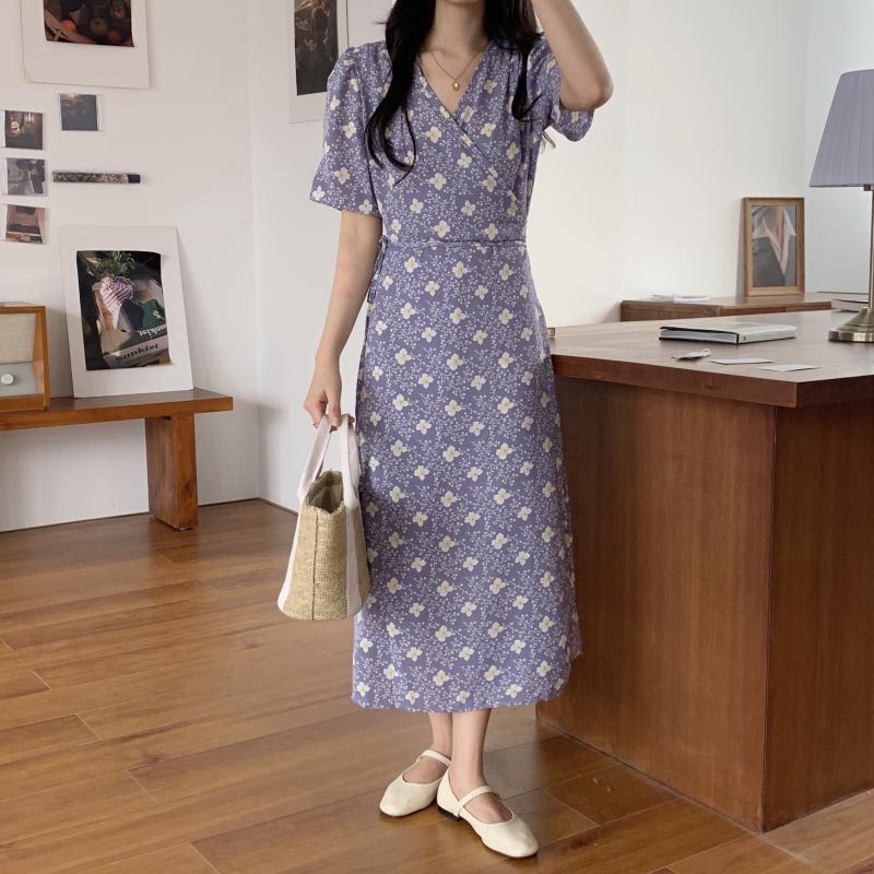 韓国 ファッション ワンピース 夏 春 秋 カジュアル PTXI526  くすみカラー ゆったり Aライン リラクシー オルチャン シンプル 定番 セレカジの写真2枚目