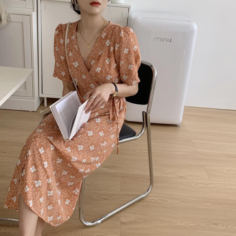 韓国 ファッション ワンピース 夏 春 秋 カジュアル PTXI526  くすみカラー ゆったり Aライン リラクシー オルチャン シンプル 定番 セレカジの写真3枚目