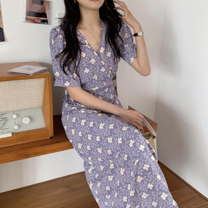 韓国 ファッション ワンピース 夏 春 秋 カジュアル PTXI526  くすみカラー ゆったり Aライン リラクシー オルチャン シンプル 定番 セレカジの写真4枚目