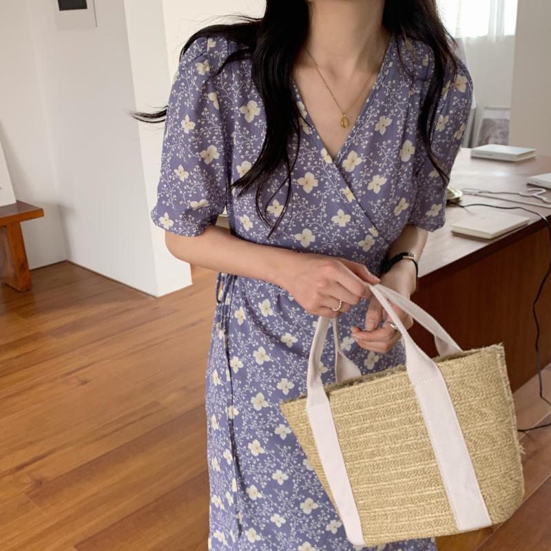 韓国 ファッション ワンピース 夏 春 秋 カジュアル PTXI526  くすみカラー ゆったり Aライン リラクシー オルチャン シンプル 定番 セレカジの写真5枚目
