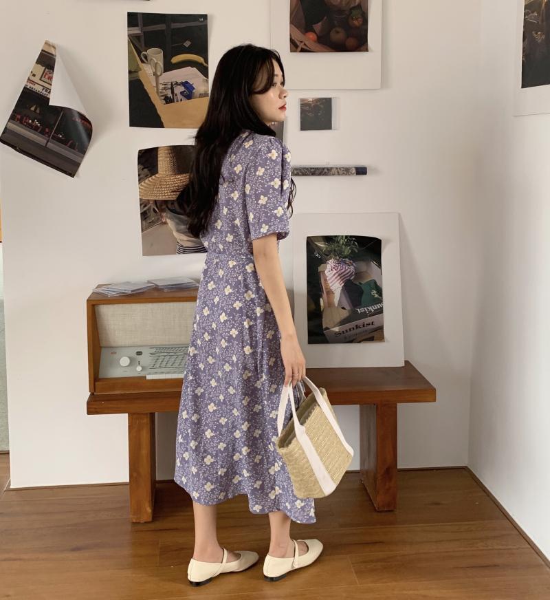 韓国 ファッション ワンピース 夏 春 秋 カジュアル PTXI526  くすみカラー ゆったり Aライン リラクシー オルチャン シンプル 定番 セレカジの写真6枚目