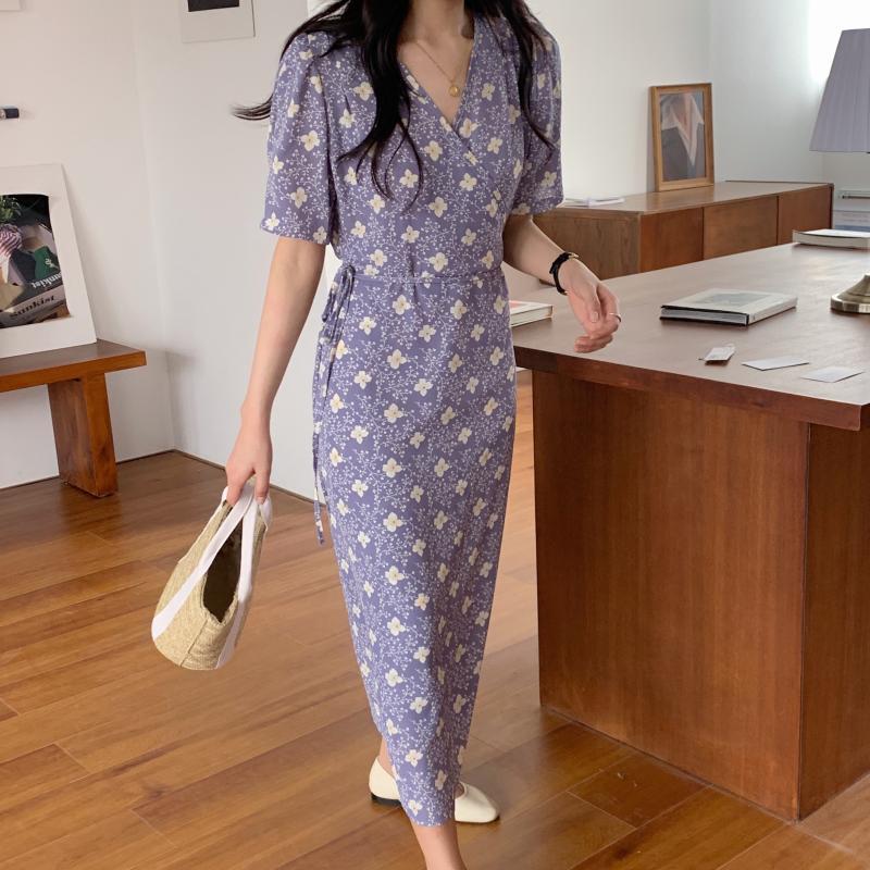 韓国 ファッション ワンピース 夏 春 秋 カジュアル PTXI526  くすみカラー ゆったり Aライン リラクシー オルチャン シンプル 定番 セレカジの写真7枚目