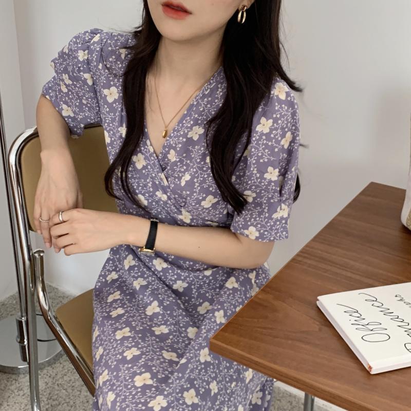 韓国 ファッション ワンピース 夏 春 秋 カジュアル PTXI526  くすみカラー ゆったり Aライン リラクシー オルチャン シンプル 定番 セレカジの写真10枚目
